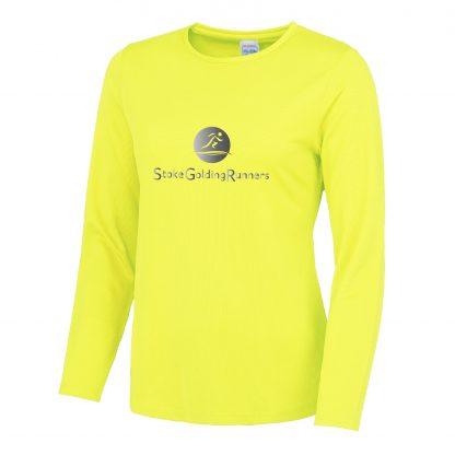 Stoke Golding Runners Hi-Viz Ladies Fit Long Sleeve T-Shirt